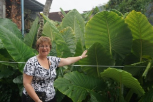 Barb, in front of yet another variety of palm