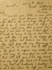 Sarah's letter dated 1916