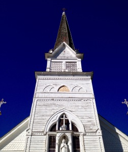A steadfast steeple and crosses