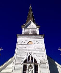 A steadfast steeple and crosses